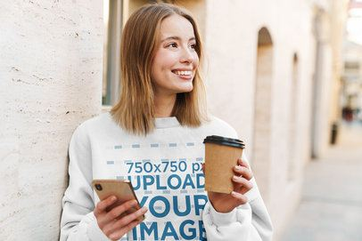 Mockup of a Woman Wearing a Crewneck Sweatshirt on the Street 39821-r-el2