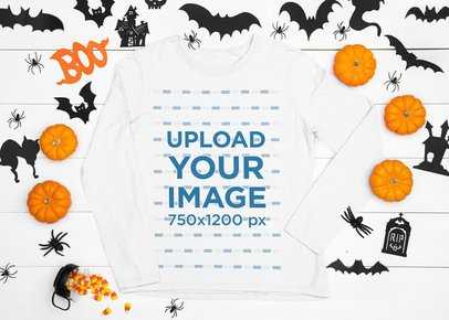 Long Sleeve Tee Mockup Featuring Halloween Decorations m91