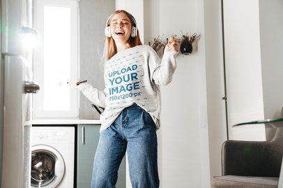 Crewneck Sweatshirt Music Featuring a Young Woman Listening to a Happy Song 42794-r-el2