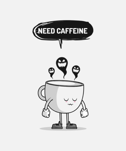 Monochromatic T-Shirt Design Generator Featuring an Empty Coffee Cup Cartoon 3010d-el1