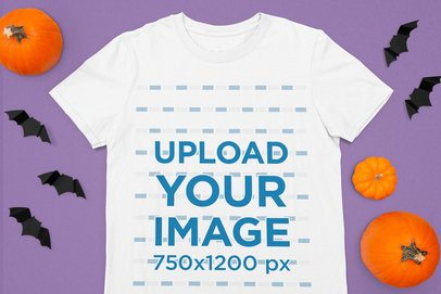 Halloween-Themed Mockup Featuring a T-Shirt Surrounded by Pumpkins 106