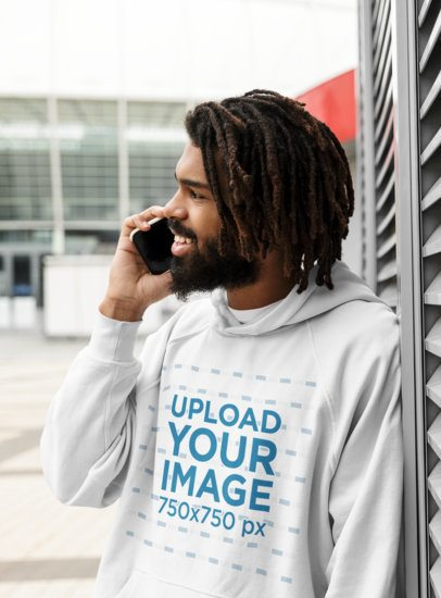 Hoodie Mockup Featuring a Happy Man Making a Phone Call 41719-r-el2