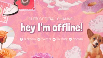 Girly Twitch Offline Banner Template With a Y2K Inspired Aesthetic 3023d