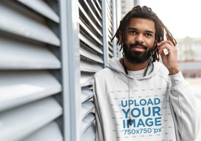 Pullover Hoodie Mockup of a Bearded Man in an Urban Setting 41721-r-el2