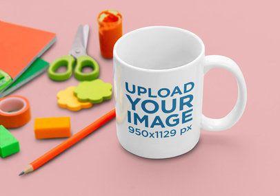 11 oz Mug Mockup Featuring Some Stationery Items 43521-r-el2