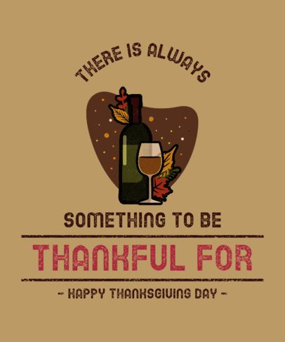 Thanksgiving-Themed T-Shirt Design Template Featuring a Wine Bottle Graphic 3007a