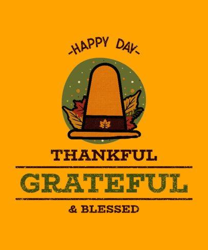 T-Shirt Design Template Featuring a Pilgrim Hat for Thanksgiving 3007e