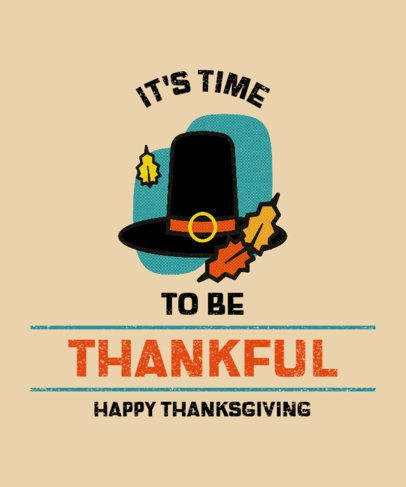 Illustrated T-Shirt Design Maker for Thanksgiving with a Pilgrim Hat 3007f