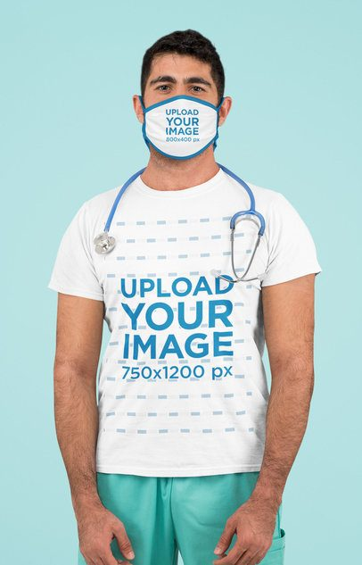 T-Shirt Mockup of a Health Professional with a Face Mask in a Studio 189
