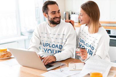 Sweatshirt Mockup Featuring a Happy Couple at Home 40240-r-el2