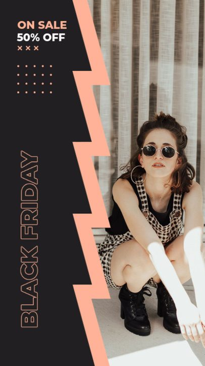 Black Friday-Themed Instagram Story Design Template Featuring a Trendy Layout 2978d-el1