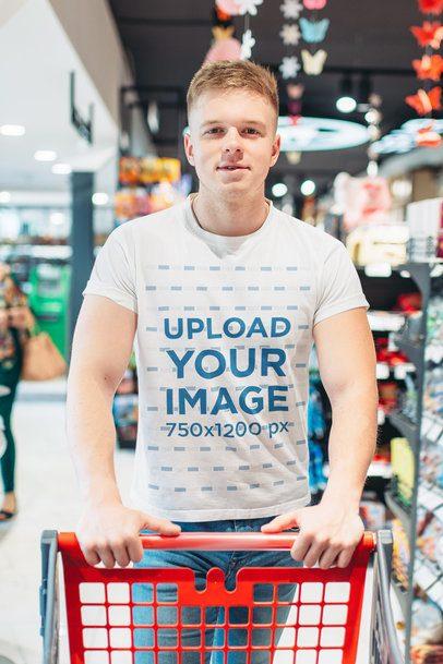 T-Shirt Mockup of a Man Shopping at a Supermarket 34753-r-el2