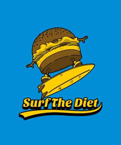T-Shirt Design Maker Featuring a Surfer Burger Cartoon 3006a-el1