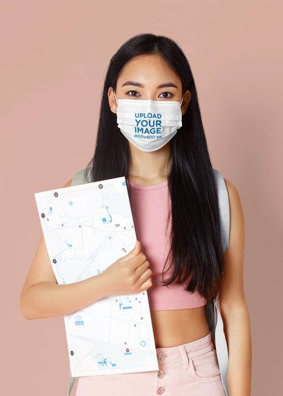Mockup of a Female Student Wearing a Face Mask in a Studio 42855-r-el2