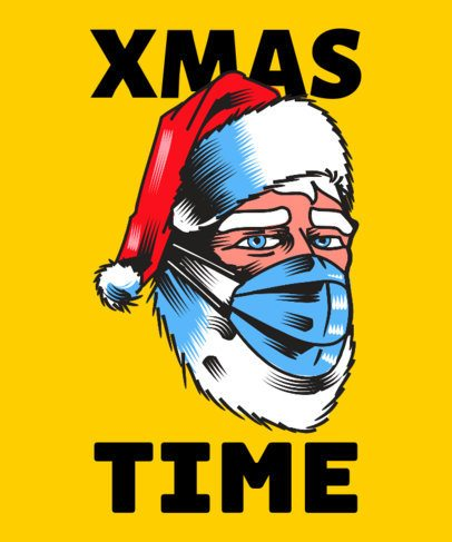 Illustrated T-Shirt Design Creator Featuring Santa Claus with a Face Mask 3013b