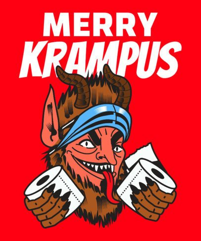 Anti-Christmas T-Shirt Design Template Featuring a Krampus Illustration 3013d