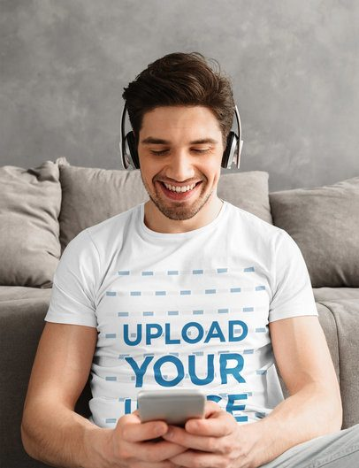 T-Shirt Mockup of a Man Listening to Music at Home 38193-r-el2