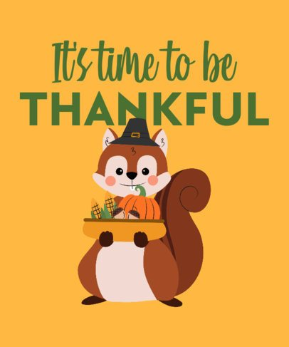 Kids T-Shirt Design Maker with a Smiling Thanksgiving Squirrel 3009g