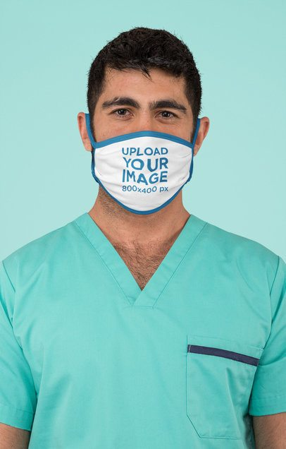 Sublimated Face Mask Mockup Featuring a Surgeon at a Studio m186