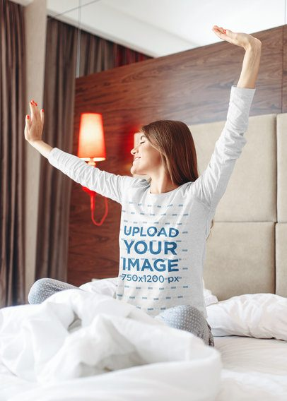 Long Sleeve Tee Mockup of a Woman Just Waking Up 37796-r-el2