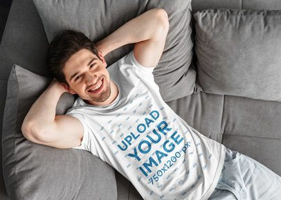 T-Shirt Mockup of a Man Chilling on a Sofa 38191-r-el2