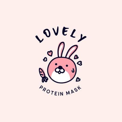 Beauty Mask Logo Template with a Bunny Graphic 3729c
