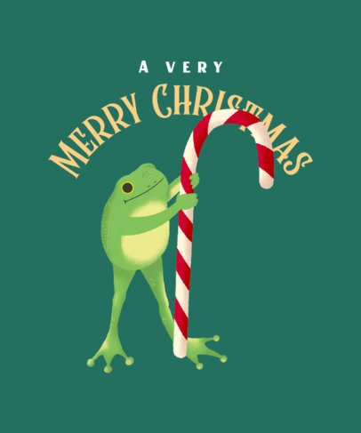 T-Shirt Design Generator Featuring a Frog Holding a Christmas Candy Cane 3010f