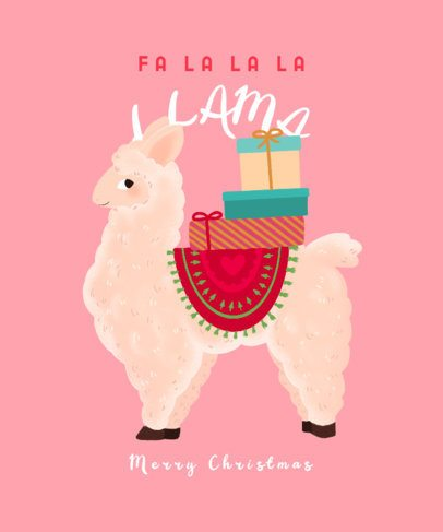 Christmas T-Shirt Design Creator with an Illustrated Llama Graphic 3010e