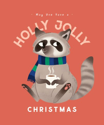 Christmas T-Shirt Design Generator Featuring a Cute Raccoon Drinking Cocoa 3010d