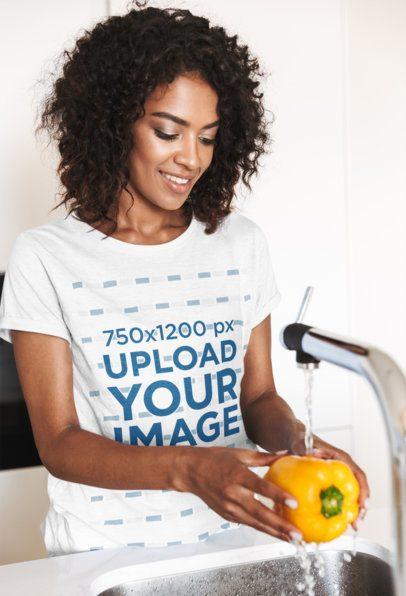T-Shirt Mockup of a Happy Woman Washing a Bell Pepper 39849-r-el2