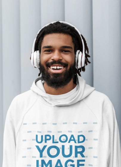 Hoodie Mockup of a Happy Bearded Man Wearing Headphones 41723-r-el2