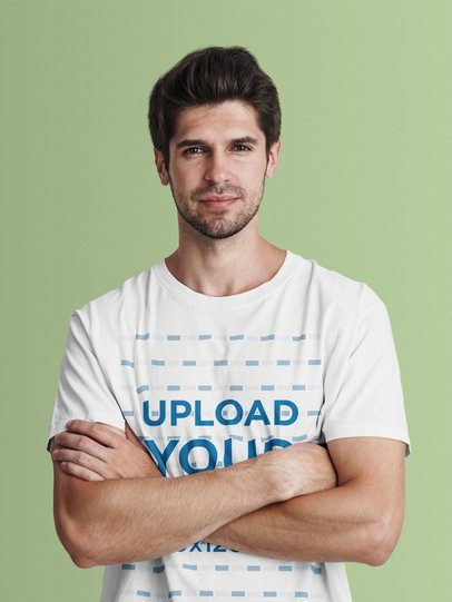 Studio Mockup of a Man in a T-Shirt Posing with Crossed Arms 42821-r-el2