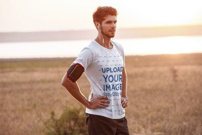 Mockup of a Runner Wearing a T-Shirt Outdoors 42741-r-el2