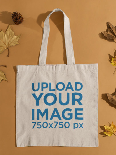 Tote Bag Mockup Featuring Autumn Leaves 139