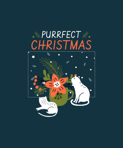Illustrated T-Shirt Design Template with Kittens on Christmas 3037-el1