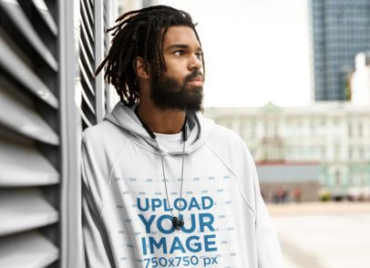Pullover Hoodie Mockup of a Serious Man Looking into the Horizon 41729-r-el2