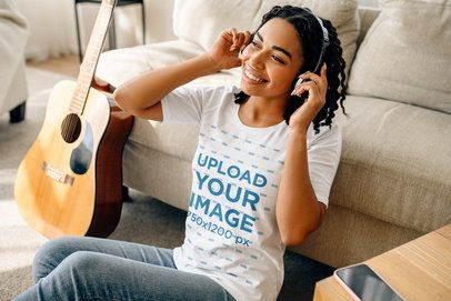 T-Shirt Mockup Featuring a Female Musician at Home 39157-r-el2