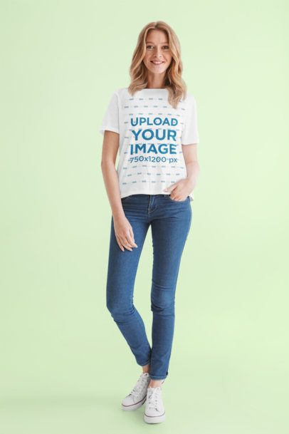 T-Shirt Mockup of a Woman Casually Standing in a Studio 39847-r-el2