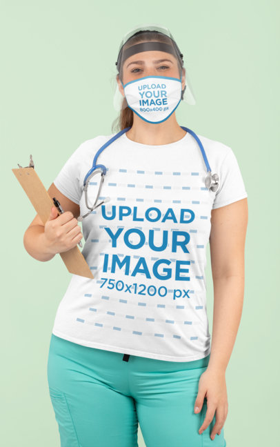 Face Mask Mockup Featuring a Health Worker Wearing a Customizable T-Shirt 180