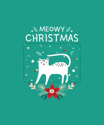 Christmas T-Shirt Design Maker with a Simple Illustration of a Cat 3037e-el1