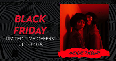 Facebook Post Template with an Anti-Design Aesthetic for a Black Friday Sale 3032