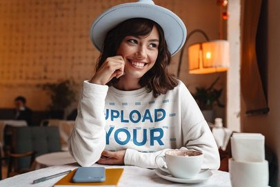 Crewneck Sweatshirt Mockup Featuring a Happy Woman at a Coffee Shop 40255-r-el2