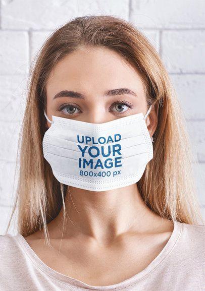 Closeup Mockup of a Woman Wearing a Face Mask 43937-r-el2