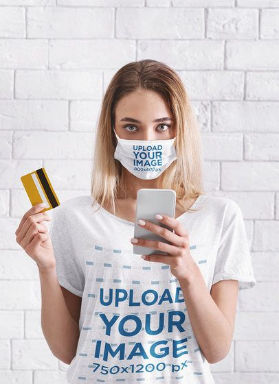 T-Shirt and Face Mask Mockup of a Woman Shopping Online 43933-r-el2