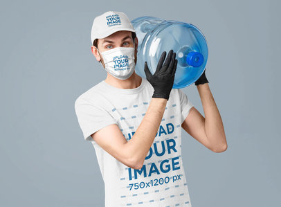 Mockup of a Worker Wearing a T-Shirt, a Hat, and a Face Mask 42867-r-el2