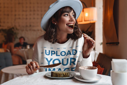 Sweatshirt Mockup of a Woman Eating a Cake at a Coffee Store 40128-r-el2