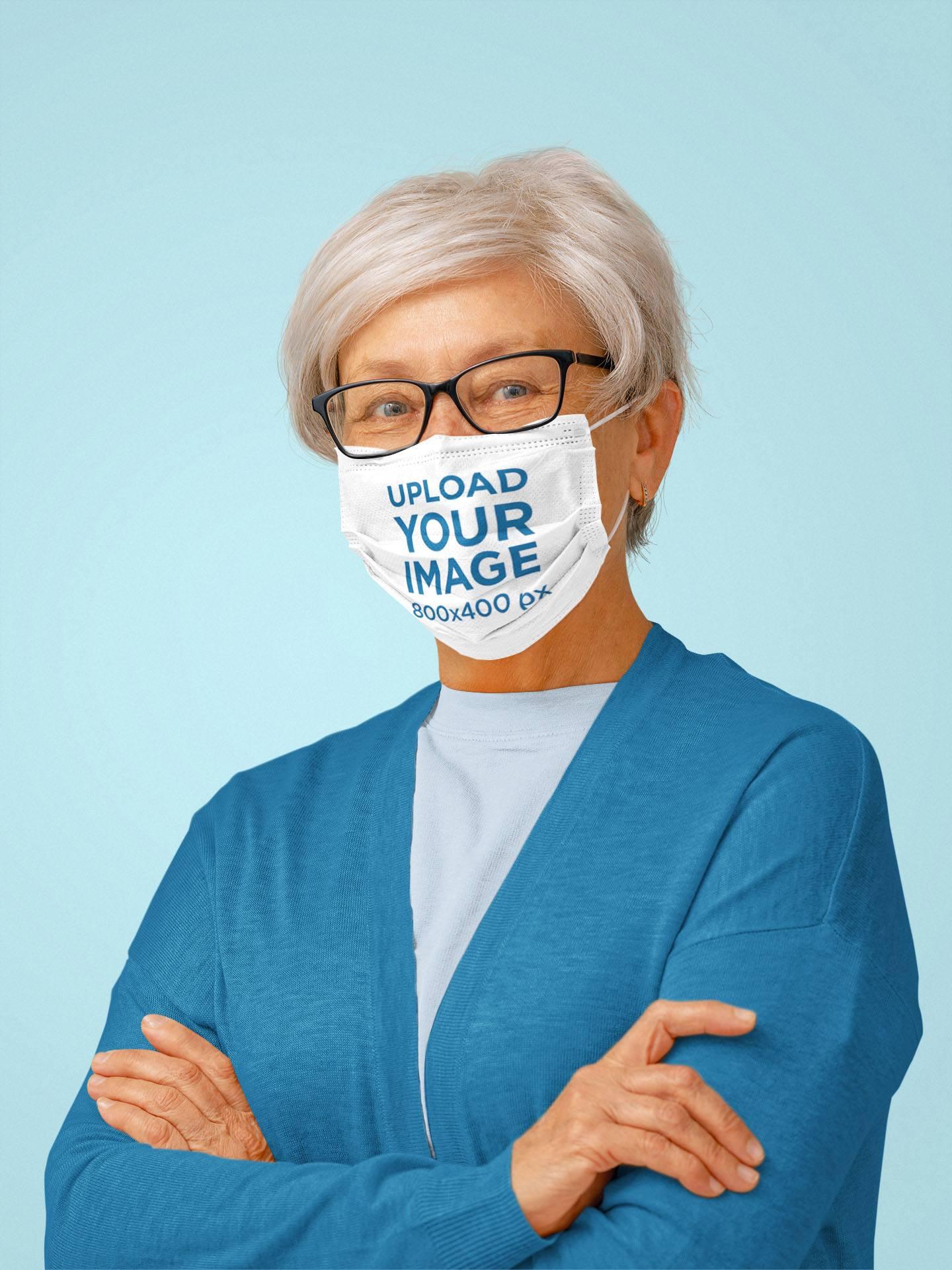 Face Mask Mockup of a Senior Woman Posing at a Studio 44039-r-el2