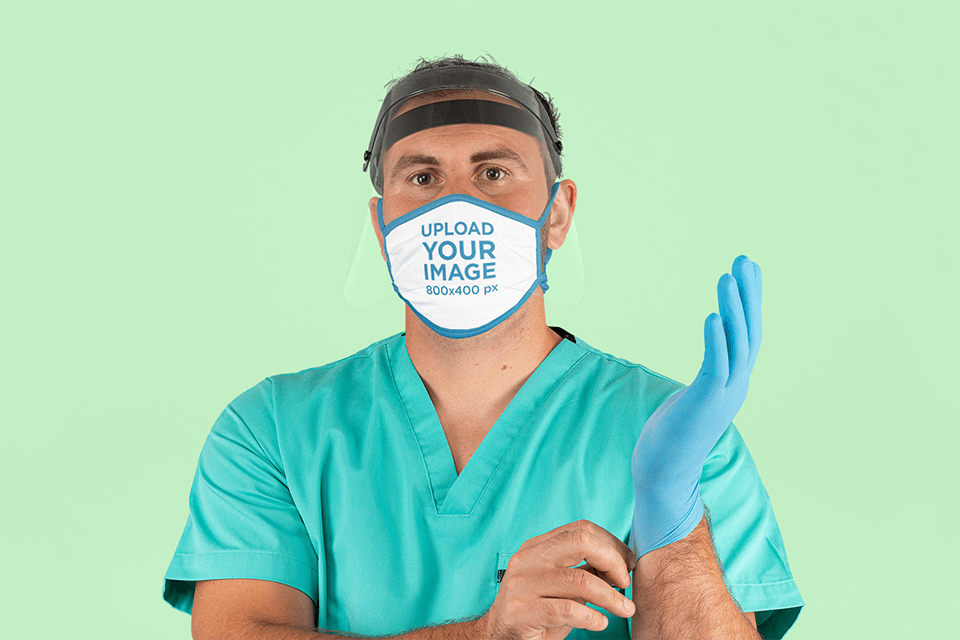 Face Mask Mockup Featuring a Health Worker 207