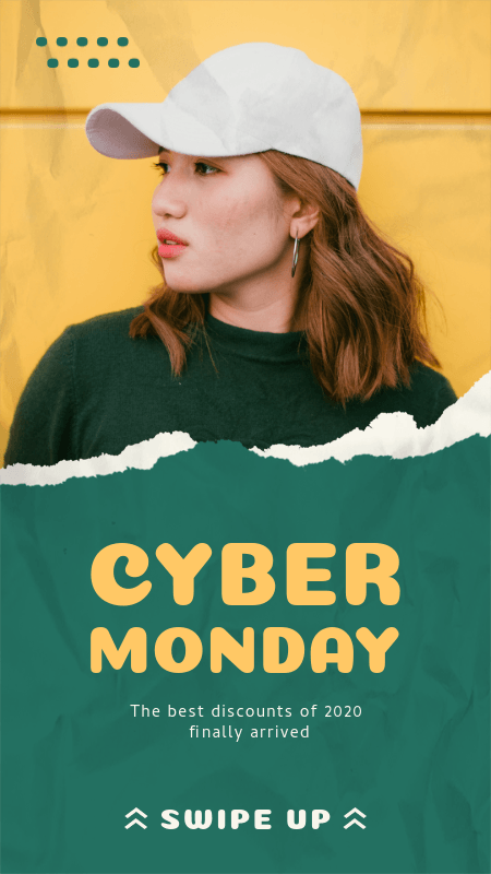 Instagram Story Maker for Clothing Brands Featuring a Cyber Monday Discount Announcement 3025c-el1