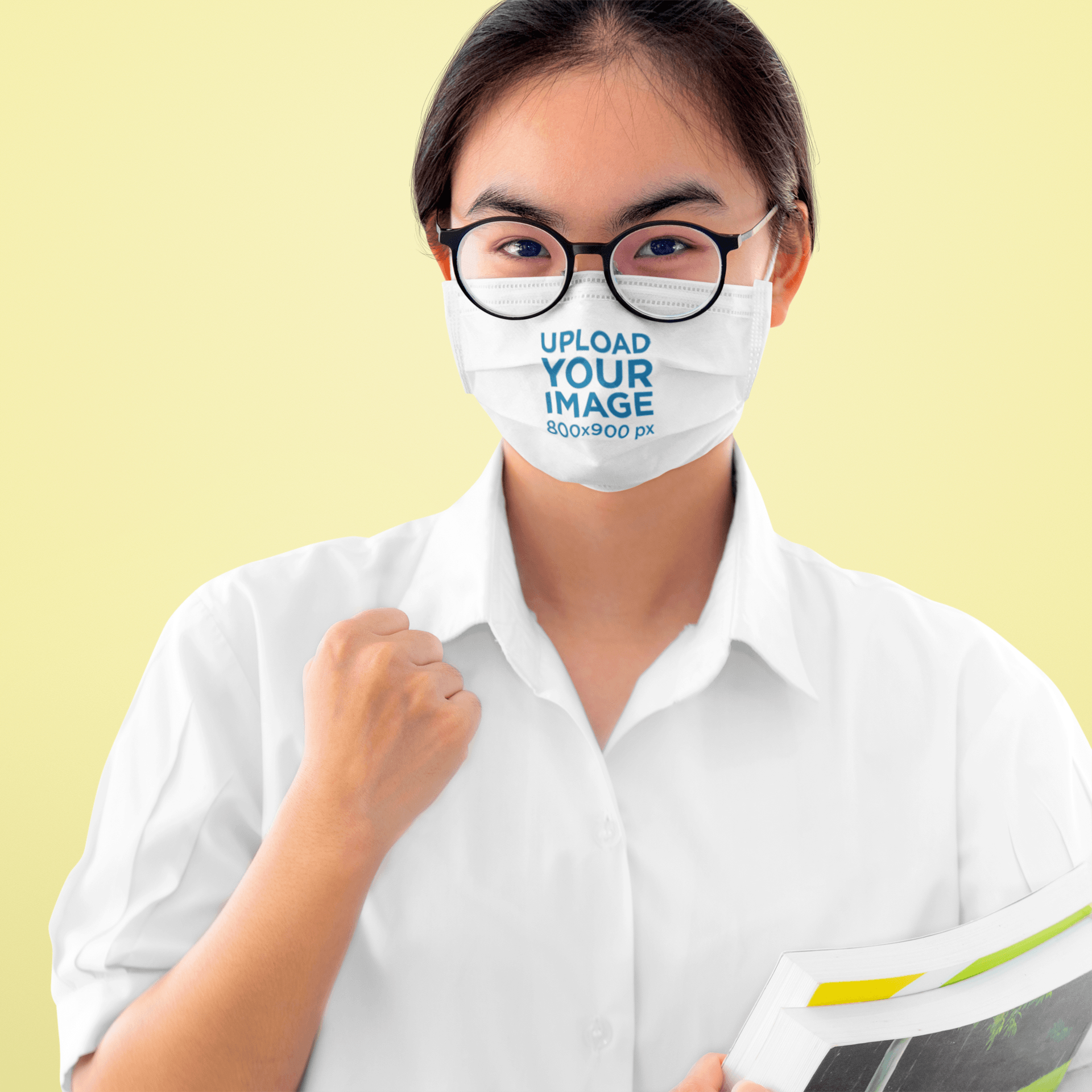 Face Mask Mockup of an Encouraging Woman in a Studio 43941-r-el2